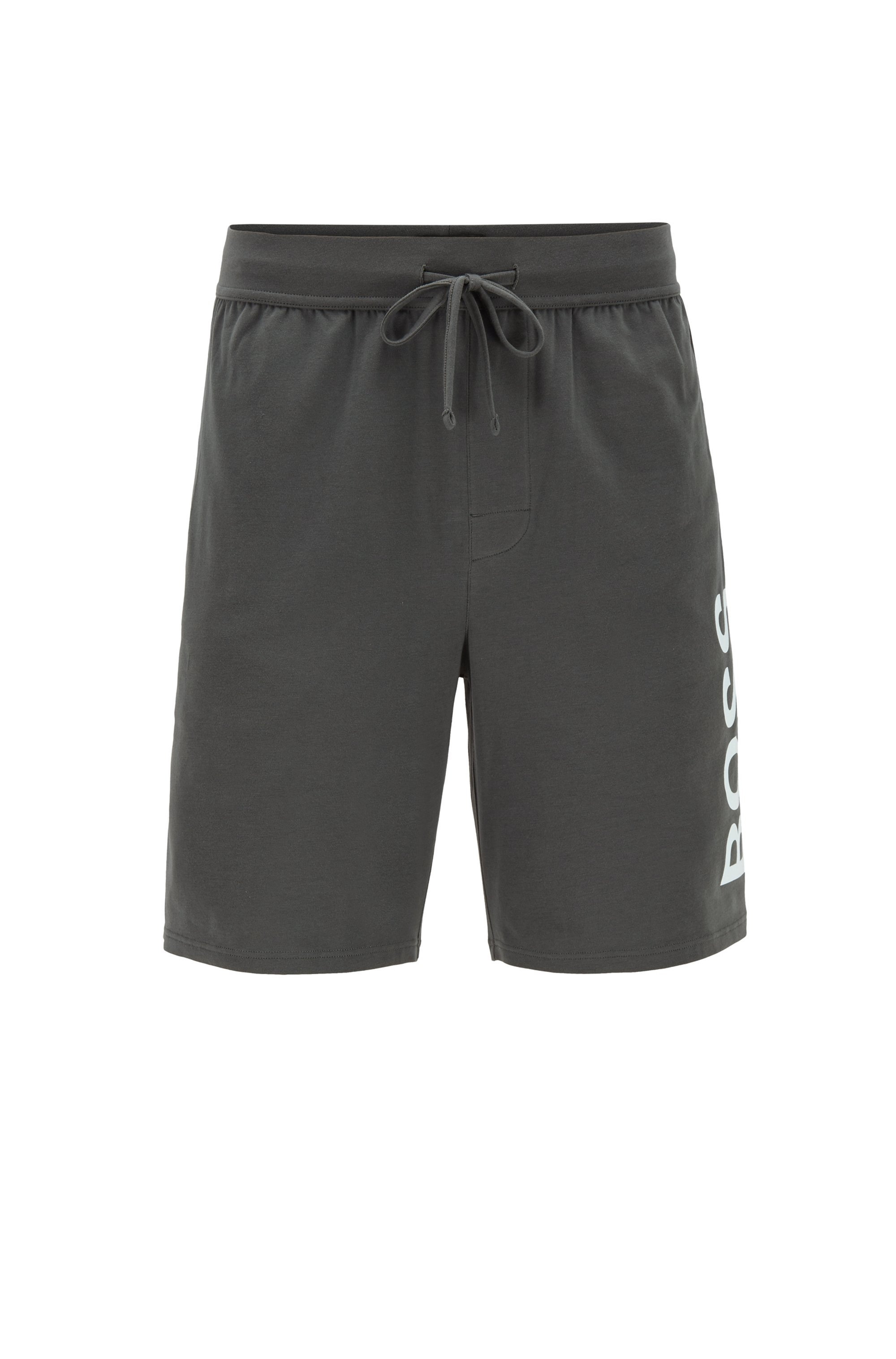 Pajama shorts in stretch cotton with printed logo, Dark Green