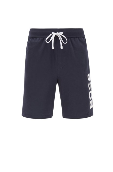 Pajama shorts in stretch cotton with printed logo, Dark Blue