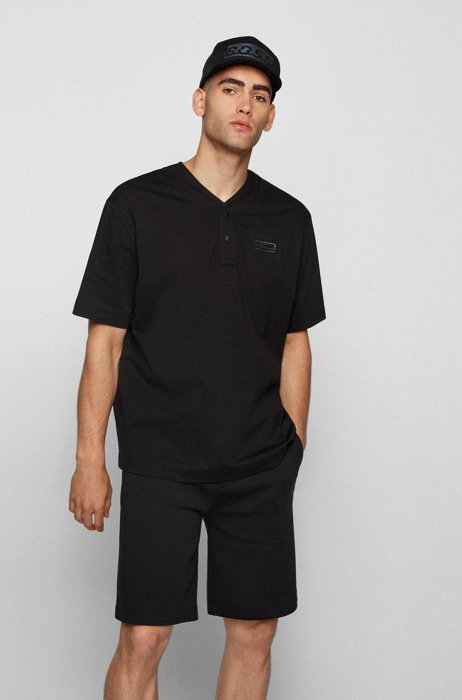 Oversized-fit polo shirt with Henley collar, Black