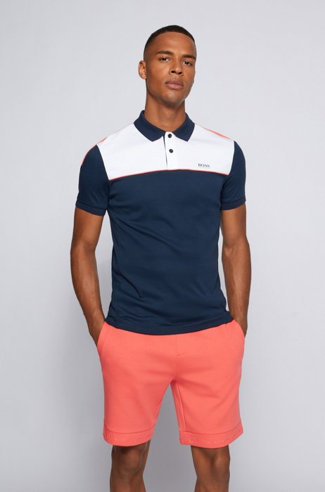 Slim-fit polo shirt in cotton with color-blocking, Dark Blue