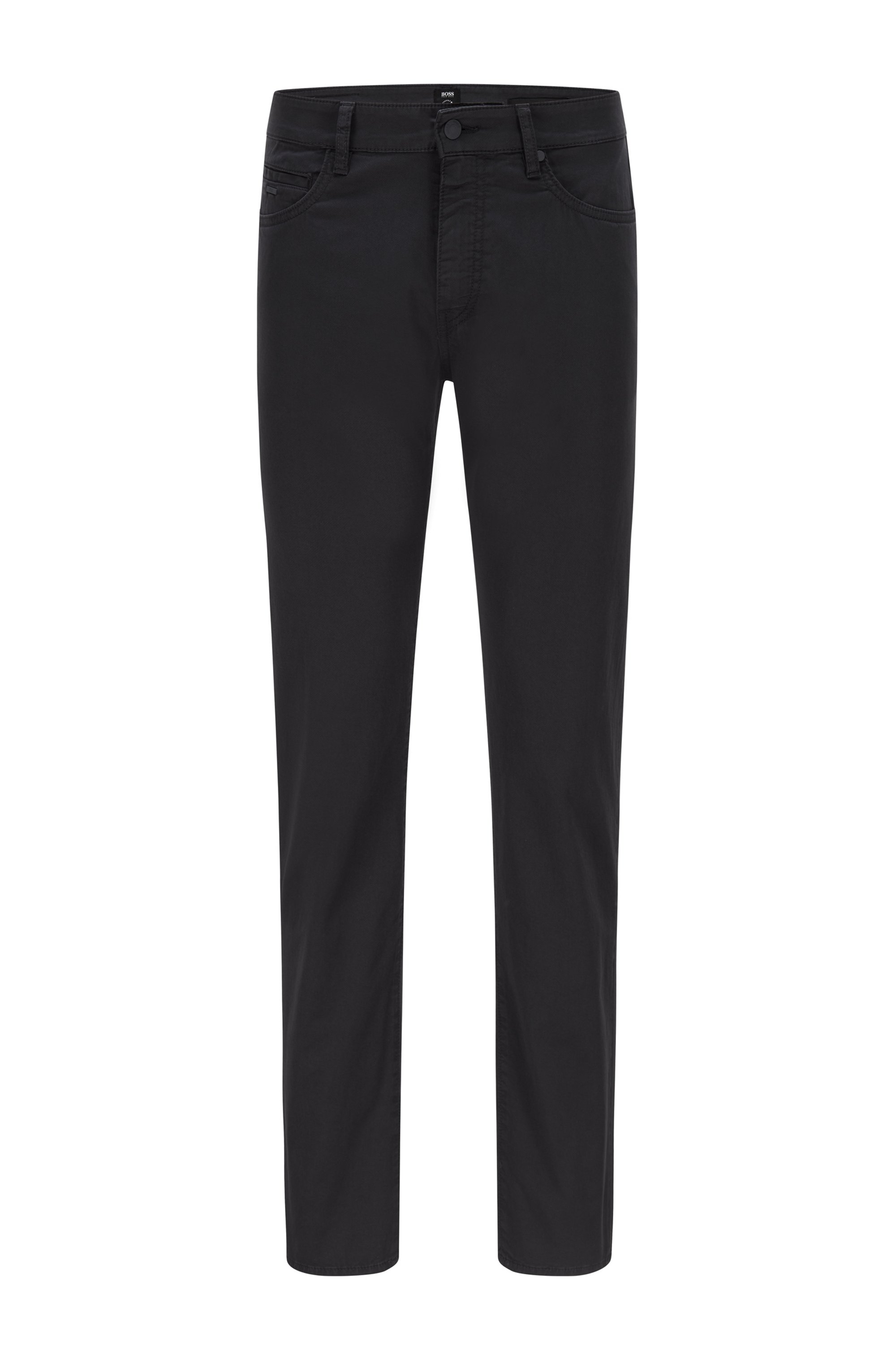 Tapered-fit jeans in paper-touch stretch-cotton gabardine, Dark Blue