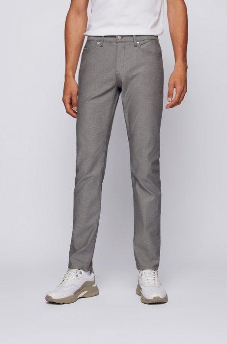 Slim-fit jeans in gray micro-structured stretch denim, Dark Blue
