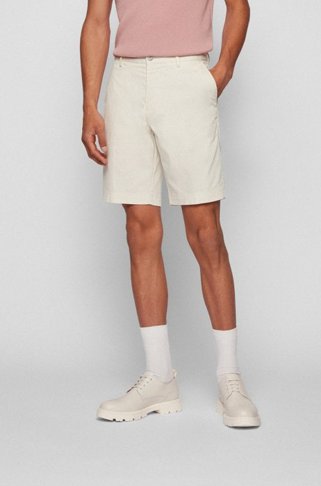 Slim-fit shorts in structured stretch cotton, White
