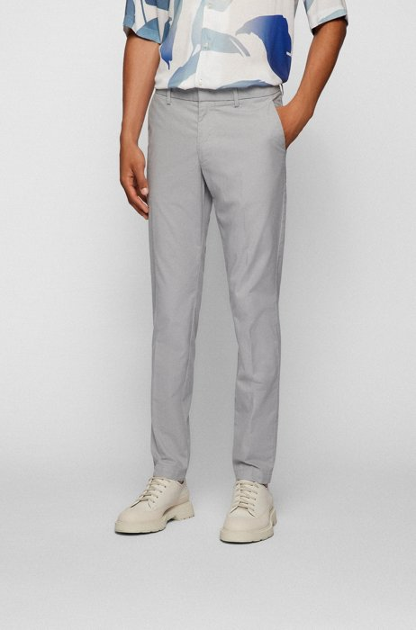 Slim-fit chinos in micro-patterned stretch cotton, Light Grey