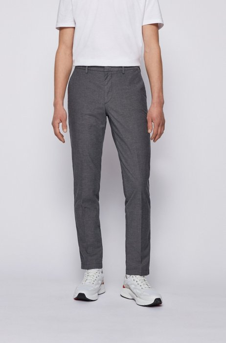 Slim-fit chinos in micro-patterned stretch cotton, Dark Blue