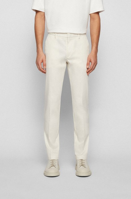 Slim-fit chinos in structured stretch cotton, White