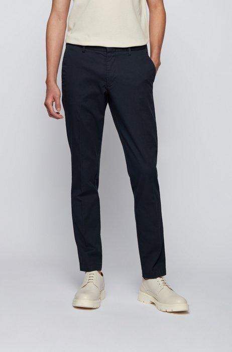 Slim-fit chinos in structured stretch cotton, Dark Blue