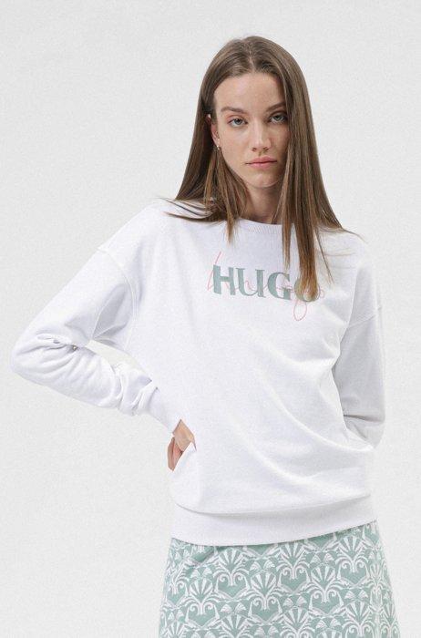 French-terry cotton sweatshirt with new-season double logo, White