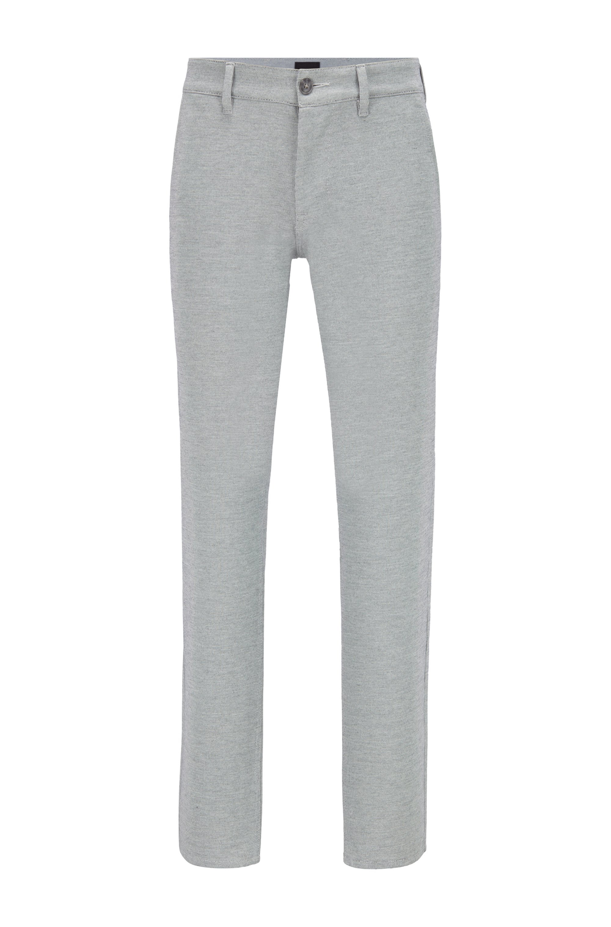 Slim-fit pants in knitted stretch fabric, Black