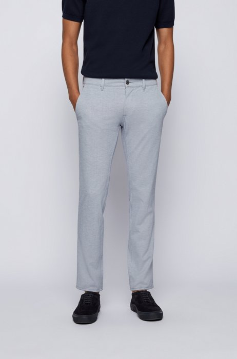 Slim-fit pants in knitted stretch fabric, Light Blue