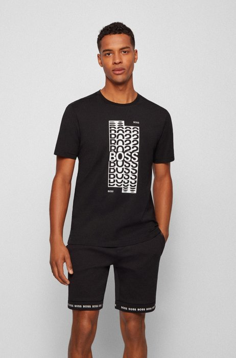 Regular-fit T-shirt in cotton with layered logo artwork, Black
