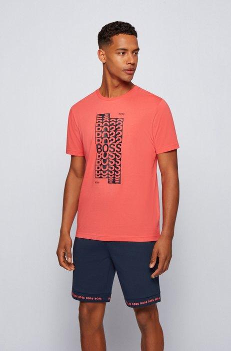 T-shirt Regular Fit en coton, avec logo superposé, Rouge clair
