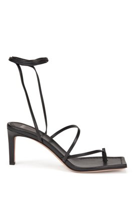 Italian-leather sandals with long ankle strap, Black