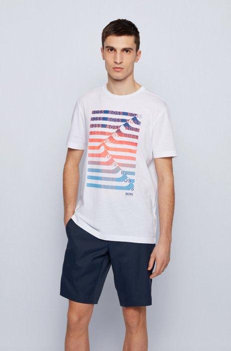 Cotton-blend T-shirt with striped logo artwork, White