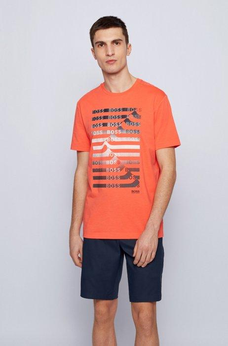 T-shirt en coton mélangé avec logo artistique et rayures, Rouge clair