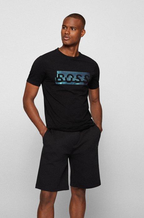 Stretch-cotton T-shirt with new-season logo artwork, Black