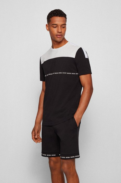 Color-block logo T-shirt in organic cotton with stretch, Black