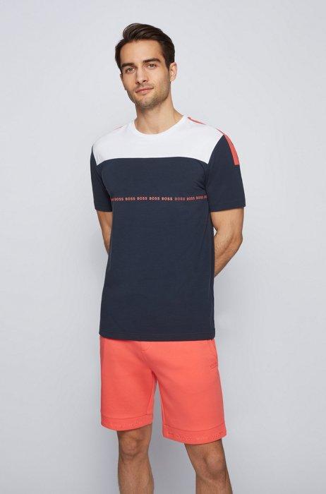 T-shirt à logo color block en coton biologique stretch, Bleu foncé