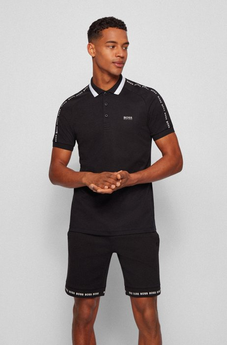 Slim-fit polo shirt in cotton with striped collar, Black