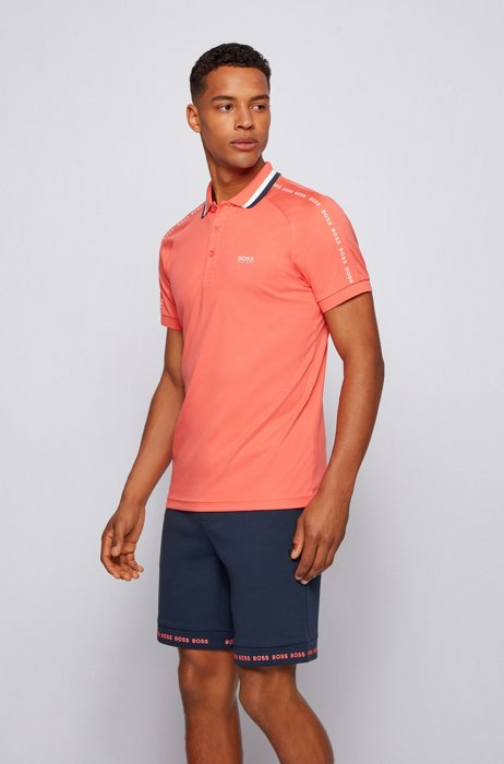Slim-fit polo shirt in cotton with striped collar, Light Red