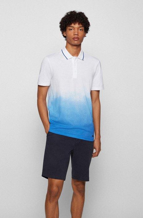 Dégradé-print polo shirt in Pima-cotton piqué, White