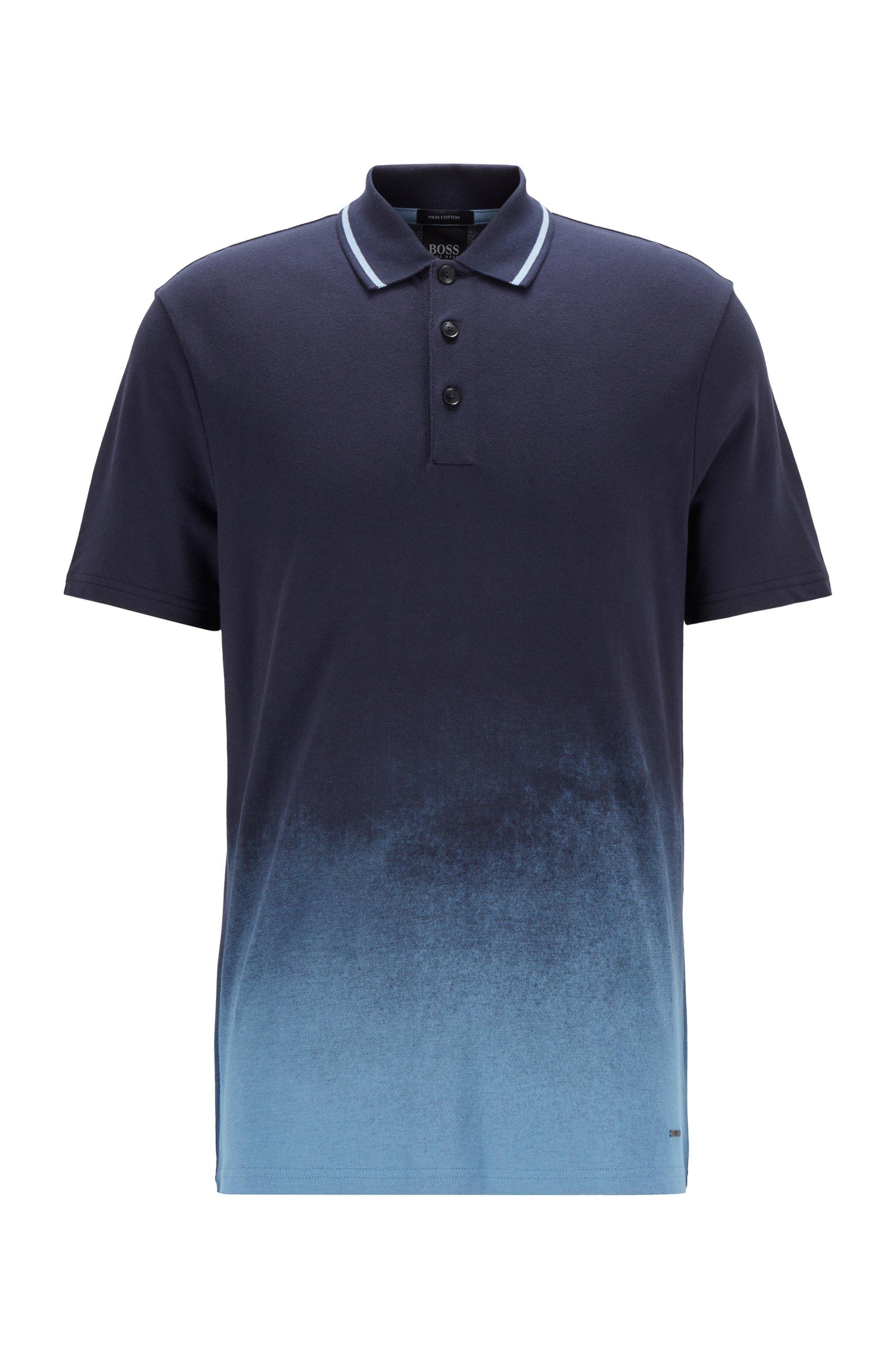 Dégradé-print polo shirt in Pima-cotton piqué, Dark Blue