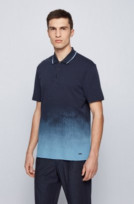 Dégradé-print polo shirt in Pima-cotton piqué, Dark Blue