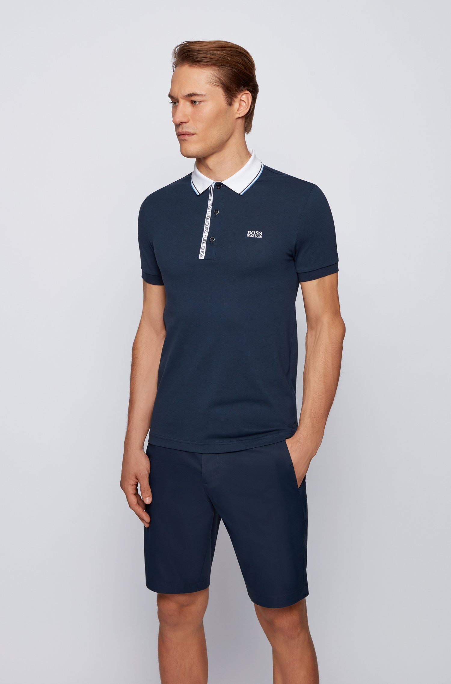 Slim-fit polo shirt in cotton with logo placket, Dark Blue