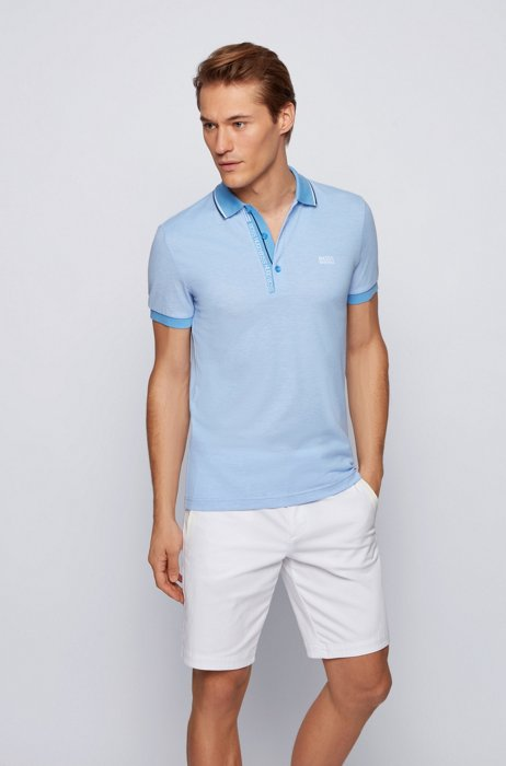 Slim-fit polo shirt in cotton with logo placket, Blue