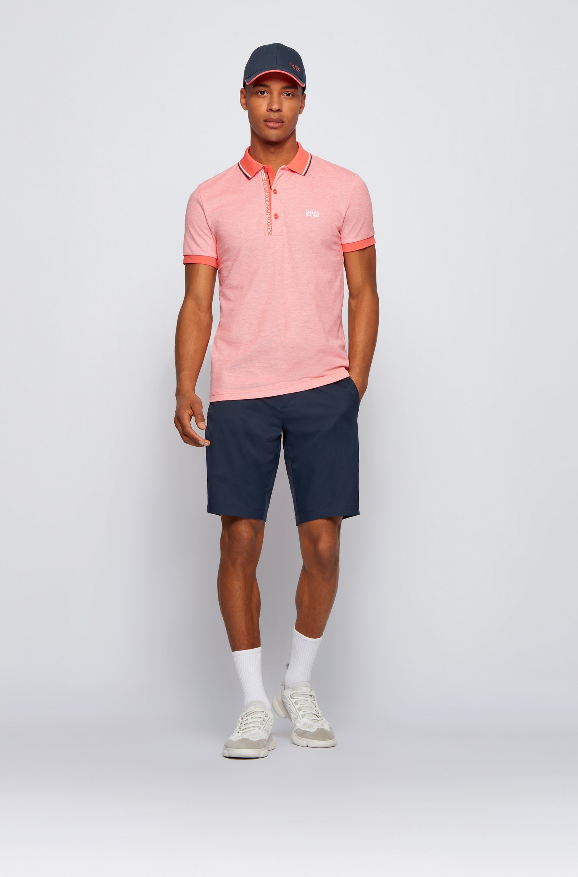 Slim-fit polo shirt in cotton with logo placket