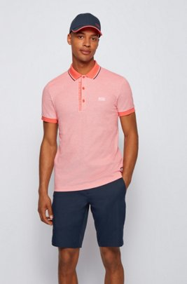 Slim-fit polo shirt in cotton with logo placket, Light Red