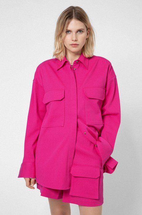 Oversized-fit blouse in stretch cotton with flap pockets, Pink