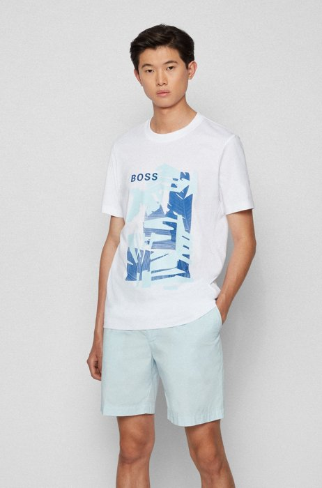 Cotton-jersey T-shirt with leaf graphic in mixed prints, White