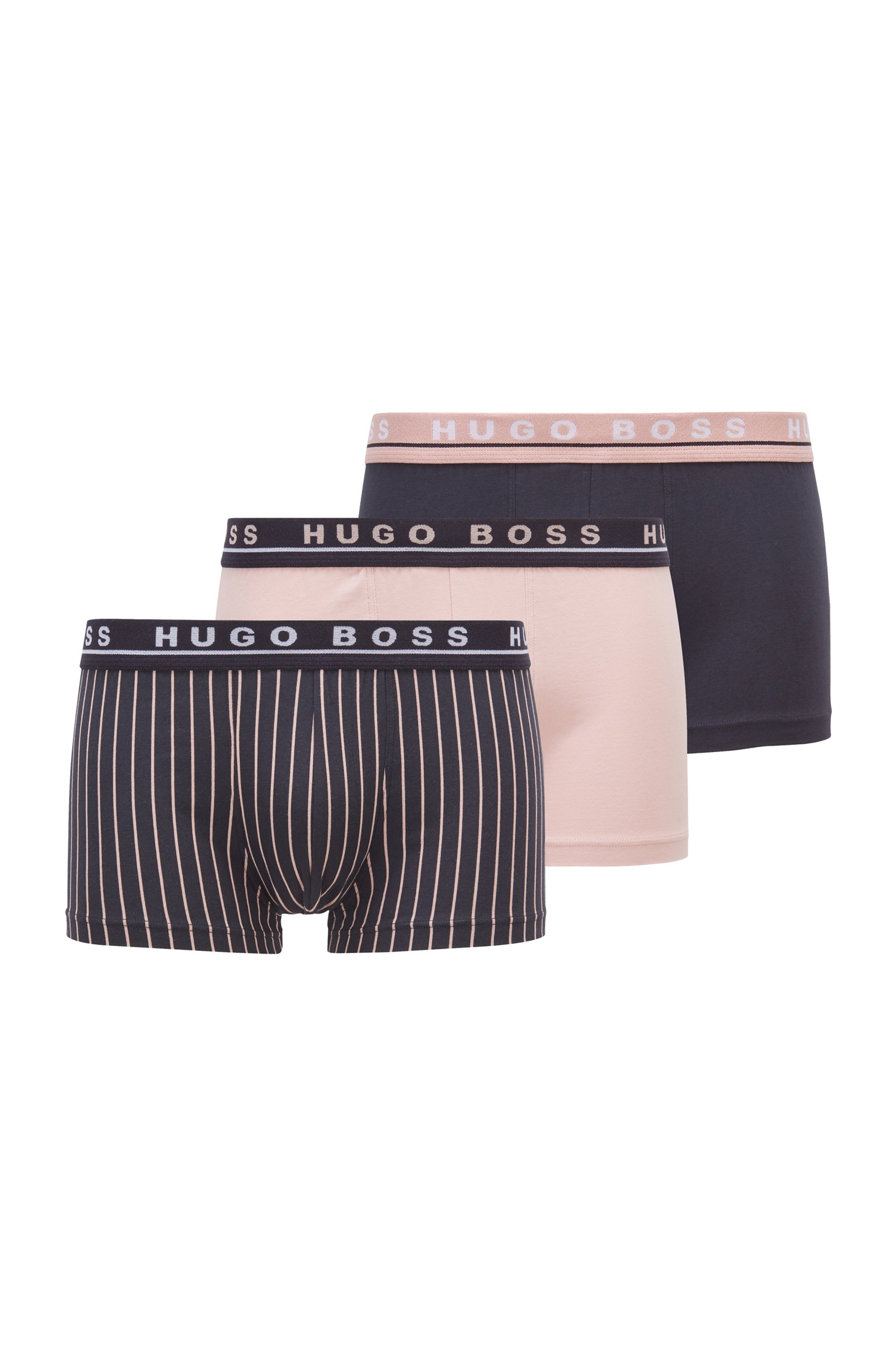 Three-pack of regular-rise trunks in stretch cotton, Patterned