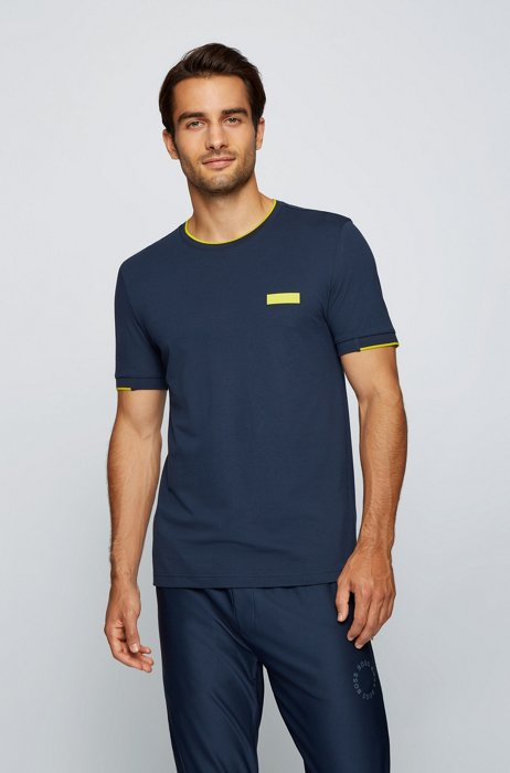 Slim-fit T-shirt with silicone logo badge, Dark Blue