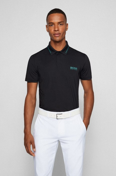 Slim-fit polo shirt in recycled fabric with stretch, Black