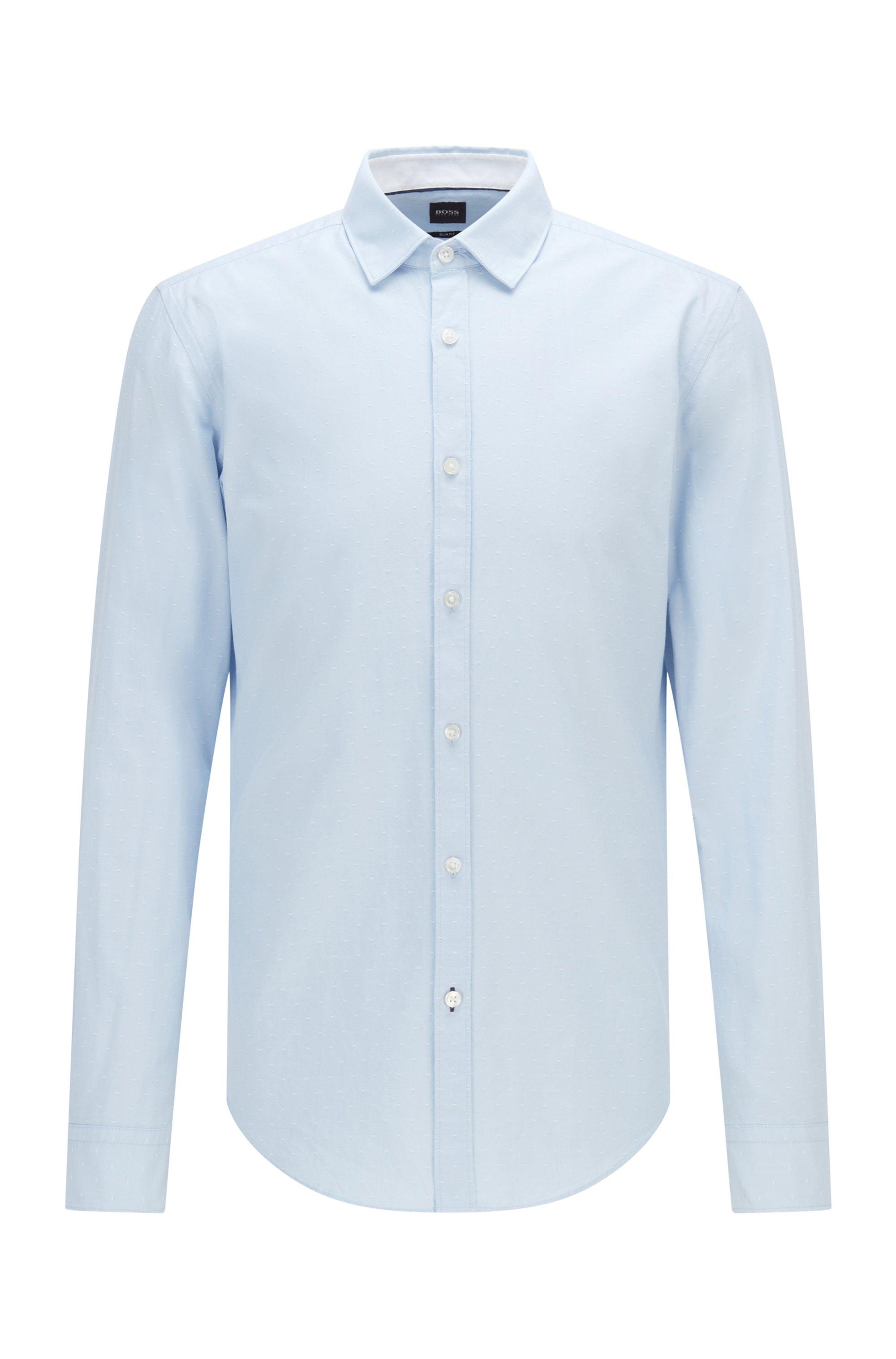 Chemise Slim Fit en coton Oxford à motif façonné, bleu clair