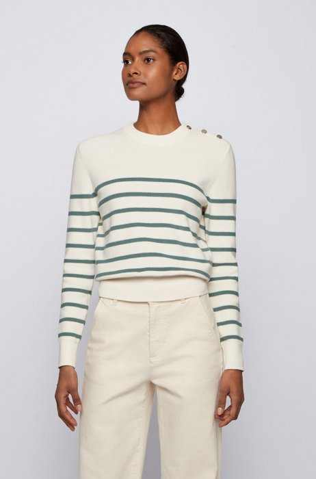 Button-detail striped sweater in organic cotton with silk, Patterned
