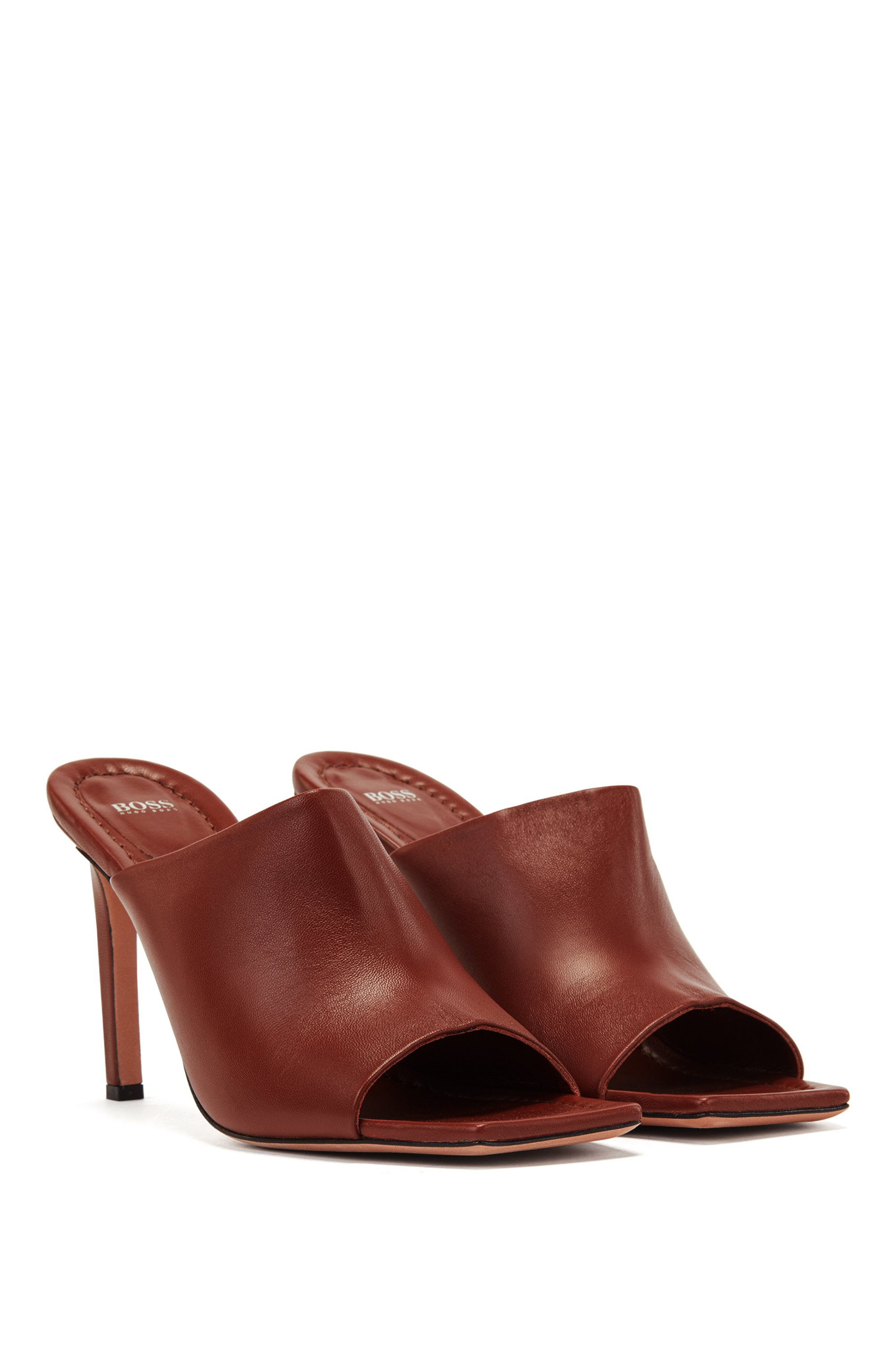 High-heeled mules in Italian leather