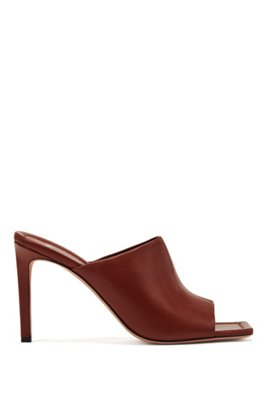 High-heeled mules in Italian leather, Brown