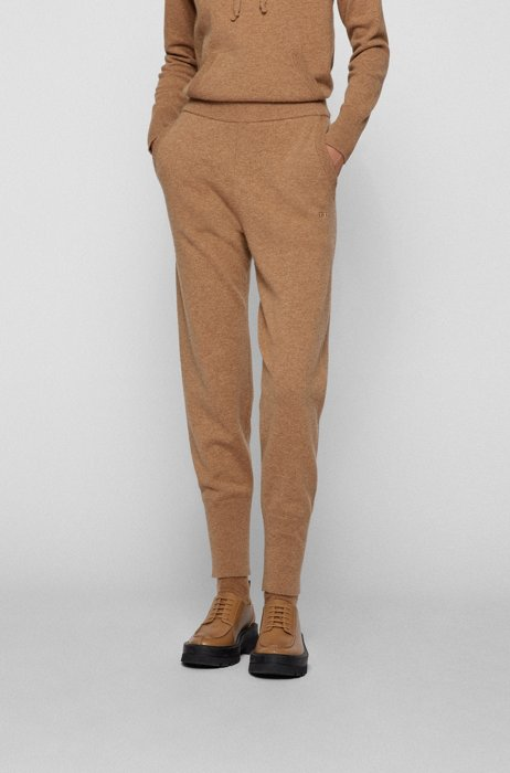 Relaxed-fit knitted trousers in a wool blend, Light Brown