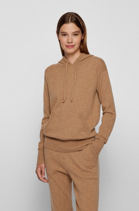 Hooded sweater in a wool blend with cashmere, Light Brown