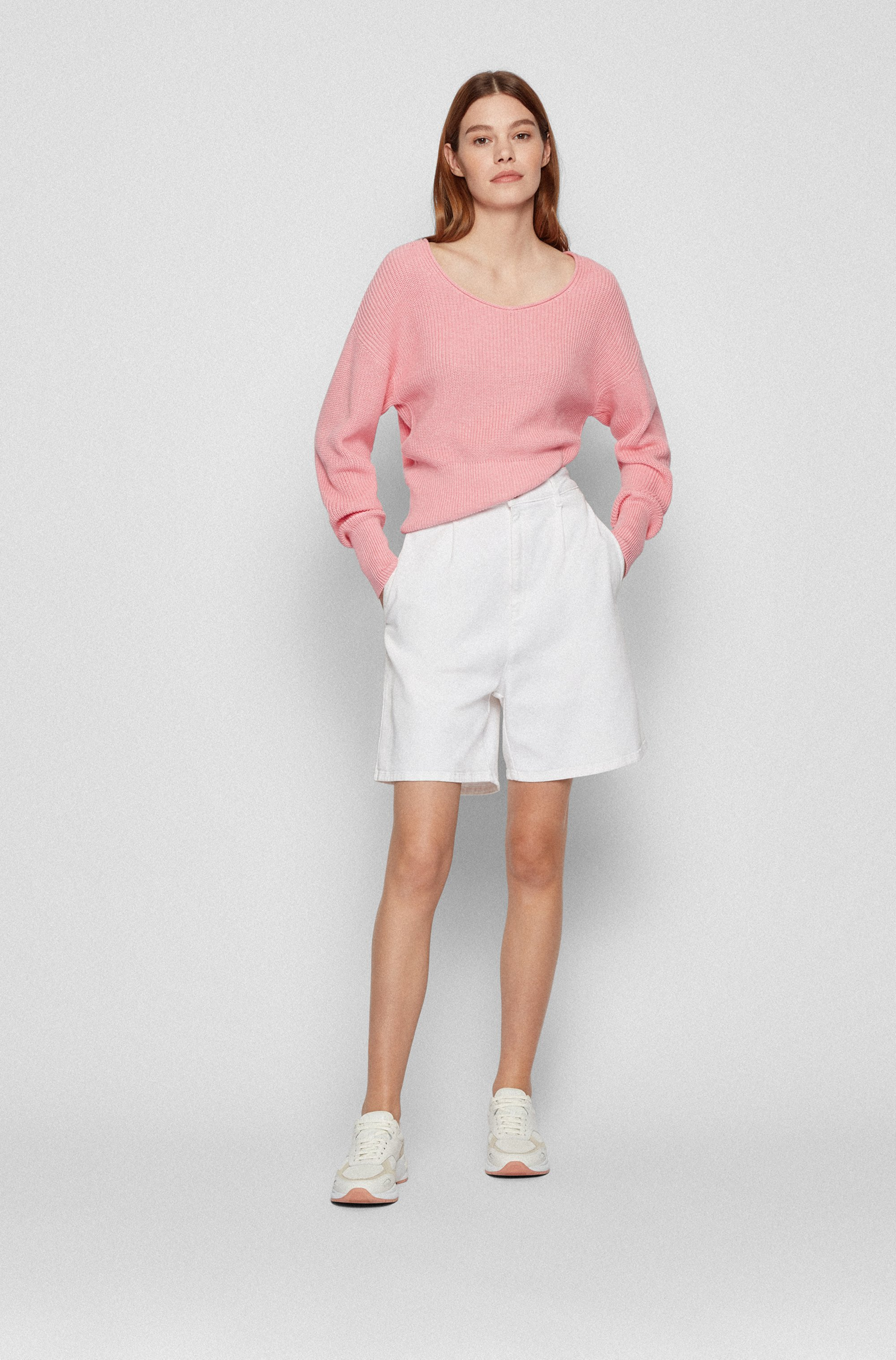 Scoop-neck sweater in cotton with silk and cashmere