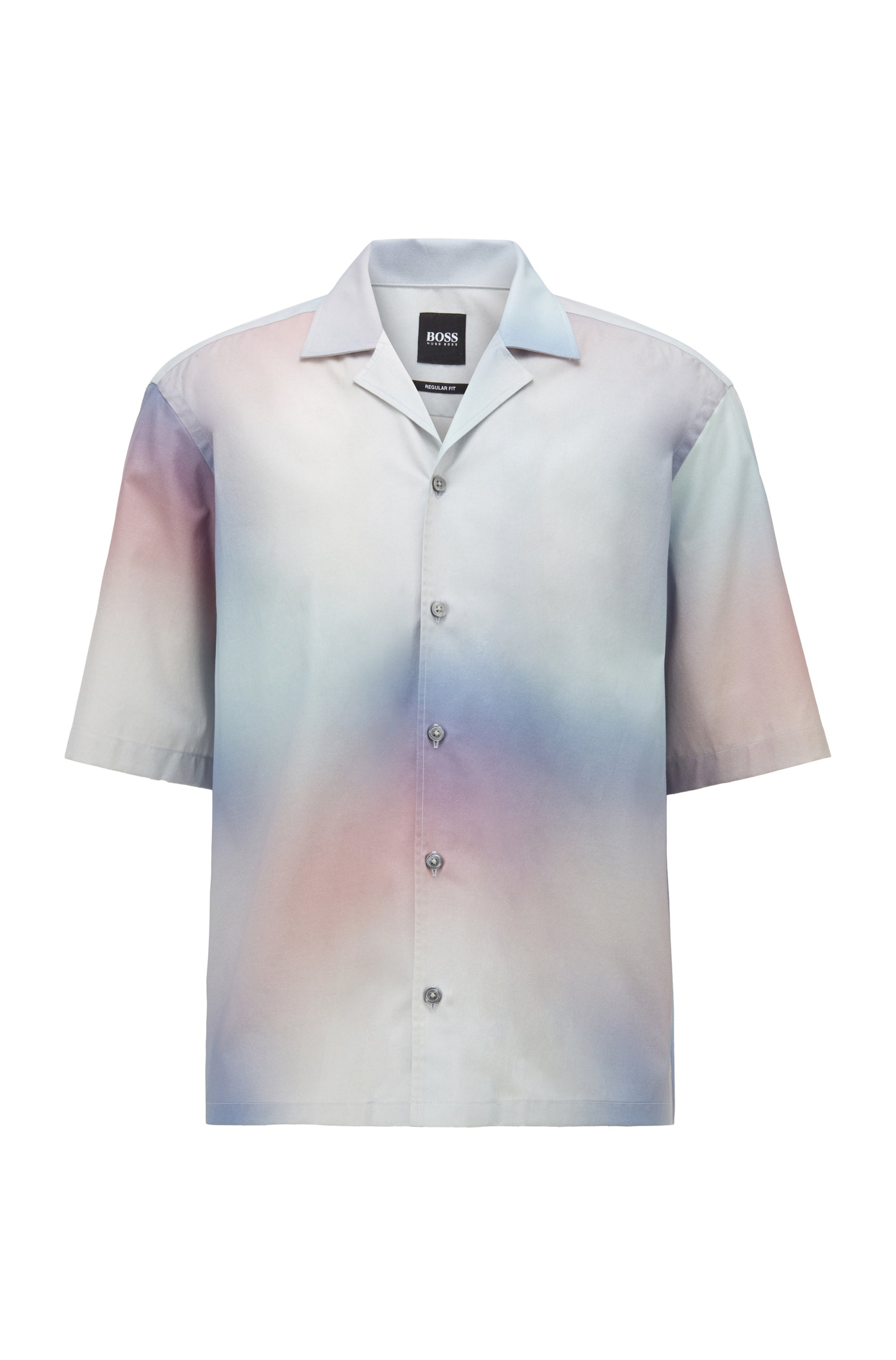 Regular-fit shirt in stretch cotton with gradient print, Patterned