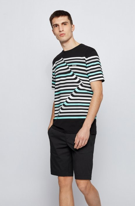 Stretch-cotton crew-neck T-shirt with abstract stripes, Black