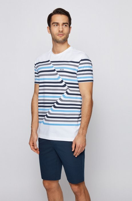 Stretch-cotton crew-neck T-shirt with abstract stripes, White