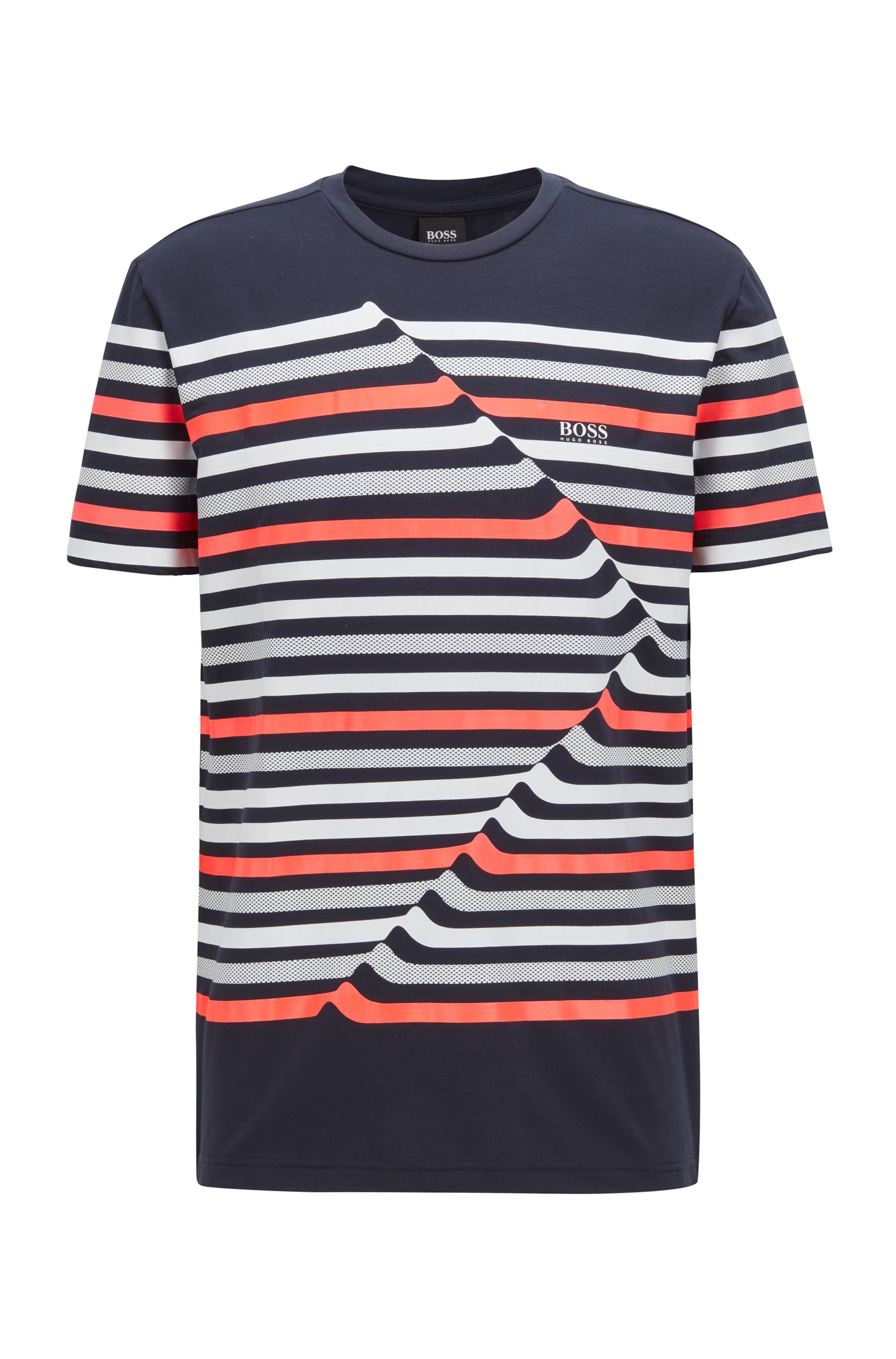Stretch-cotton crew-neck T-shirt with abstract stripes, Dark Blue