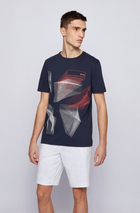 Cotton-jersey T-shirt with abstract graphic print, Dark Blue