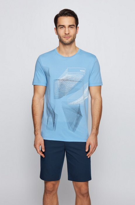 Cotton-jersey T-shirt with abstract graphic print, Blue