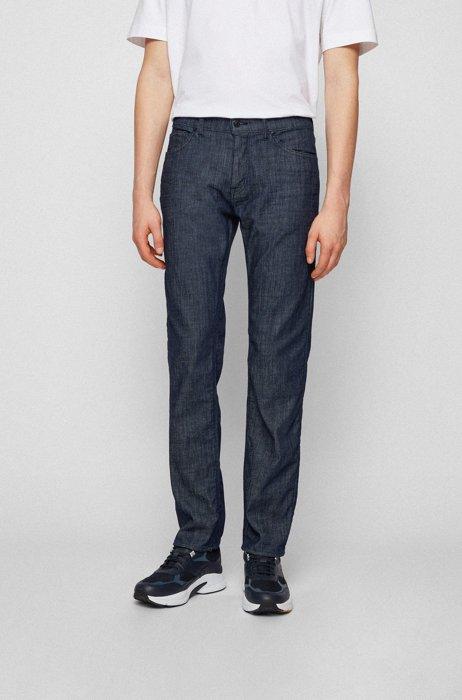 Regular-fit jeans in blue Italian denim, Dark Blue